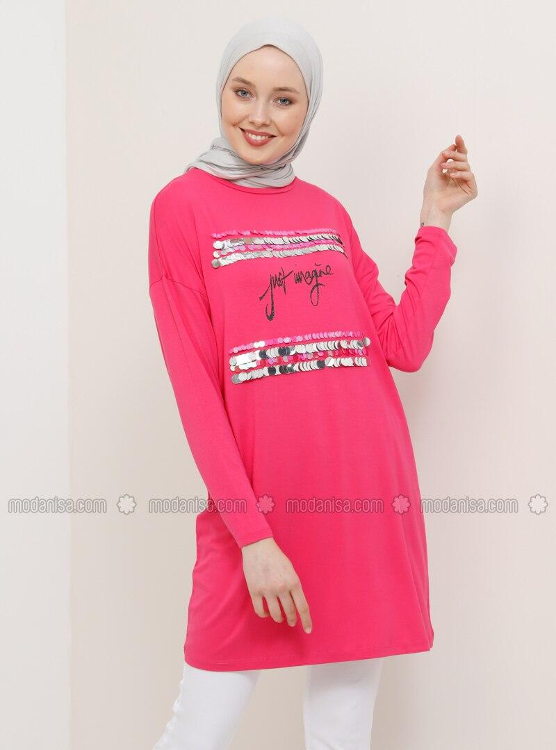 Pink - Fuchsia - Crew neck - Viscose - Tunic