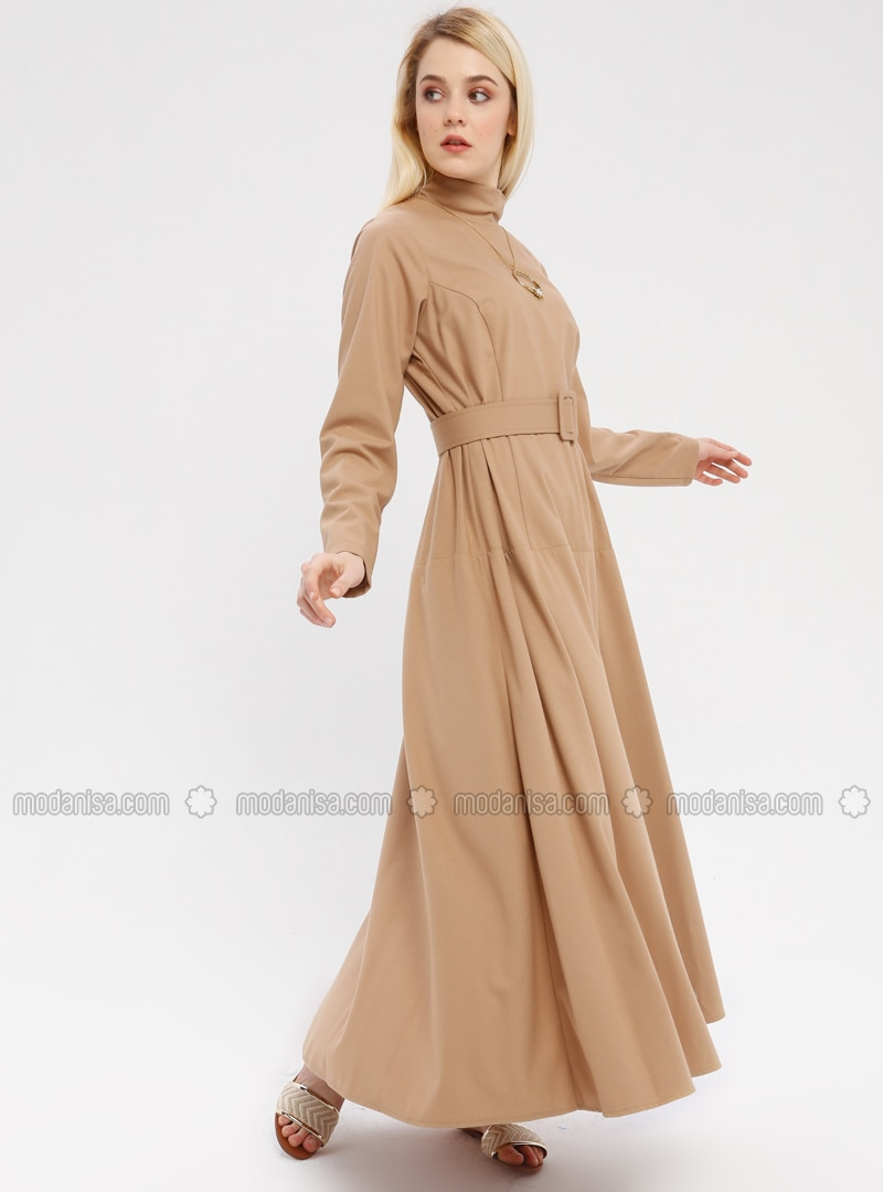 Camel - Polo neck - Unlined - Dress