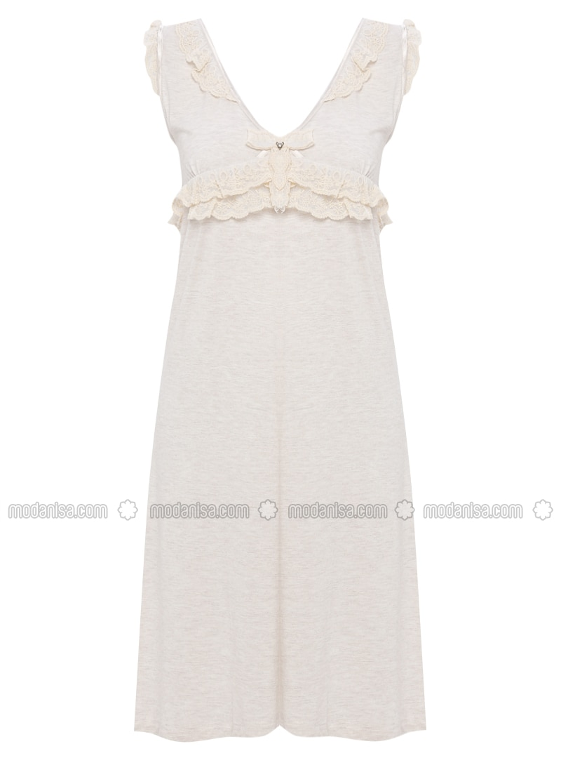 Beige - V neck Collar - Cotton -  - Nightdress