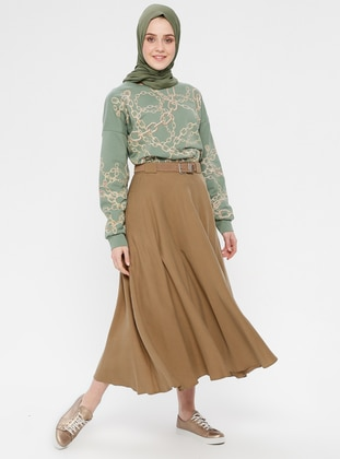 Brown - Unlined - Cotton - Skirt