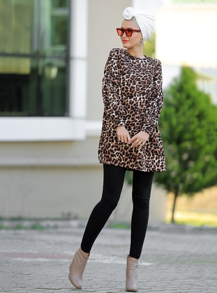Brown - Leopard - Crew neck - Tunic