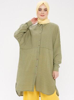 Green - Stripe - Point Collar - Tunic