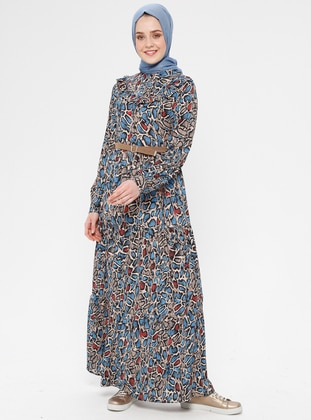 Blue - Navy Blue - Multi - Polo neck - Unlined - Dress