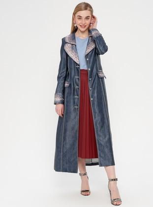 Blue - Multi - Unlined - Shawl Collar - Topcoat