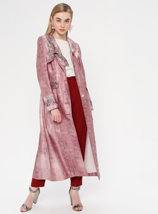 Pink - Multi - Unlined - Shawl Collar - Topcoat