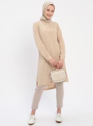 3abeab0da7 Beige - Point Collar - Cotton - Tunic