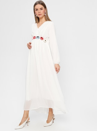 White - Ecru - Crew neck - Fully Lined - Maternity Dress - Havva Ana
