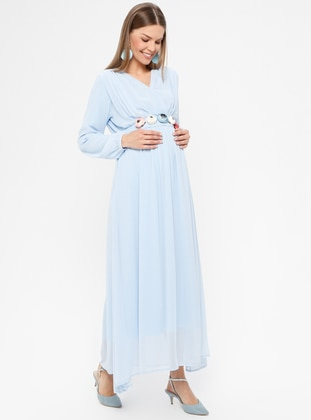 Blue - Crew neck - Fully Lined - Maternity Dress