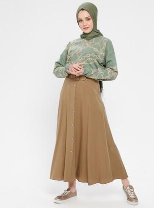 Camel - Unlined - Cotton - Skirt