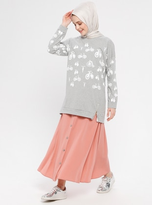 Coral - Unlined - Cotton - Skirt