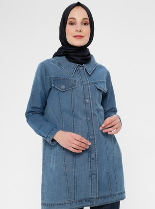 Blue - Unlined - Point Collar - Cotton - Denim - Jacket