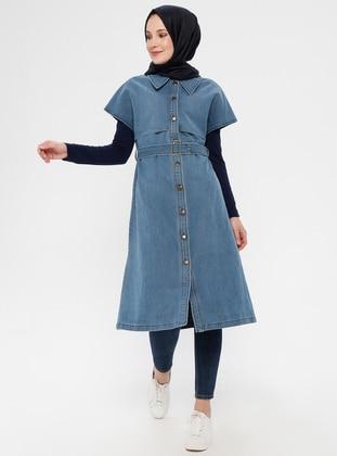 Blue - Unlined - Point Collar - Cotton - Denim - Vest
