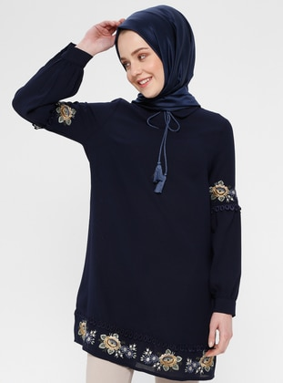 Navy Blue - Point Collar - Cotton - Tunic
