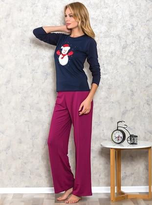Navy Blue - Crew neck - Cotton - Pyjama