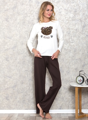 Leopard - Crew neck - Cotton - Pyjama