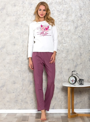 White - Purple - Crew neck - Cotton - Pyjama