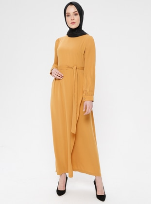 Yellow - Crew neck - Unlined - Cotton - Dress