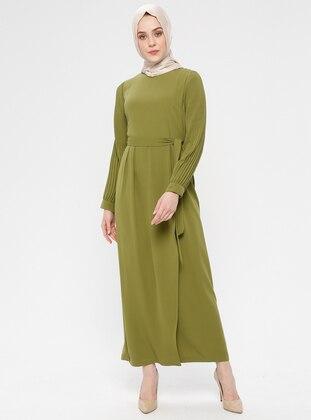 Green - Crew neck - Unlined - Cotton - Dress