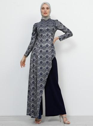 Navy Blue - Multi - Unlined - Crew neck - Muslim Evening Dress