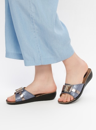 Black - Navy Blue - Sandal - Shoes