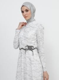 White - Ecru - Multi - Fully Lined - Crew neck - Cotton - Muslim Evening Dress