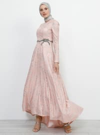 Powder - Multi - Fully Lined - Crew neck - Cotton - Muslim Evening Dress