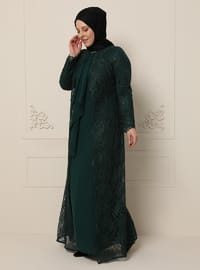 Green - Fully Lined - Polo neck - Muslim Plus Size Evening Dress