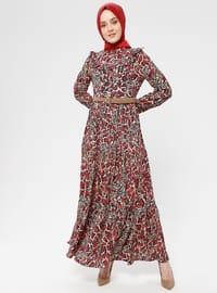 Red - Multi - Polo neck - Unlined - Dress