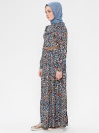 Blue - Navy Blue - Multi - Polo neck - Unlined - Dress