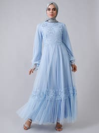 Baby Blue - Fully Lined - Crew neck -  - Muslim Evening Dress