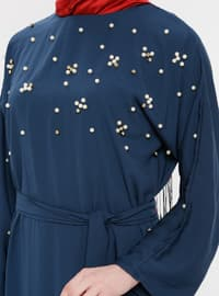 Navy Blue - Crew neck - Unlined - Dress