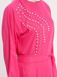 Pink - Fuchsia - Crew neck - Unlined - Dress