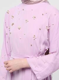Pink - Crew neck - Unlined - Dress