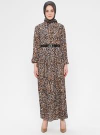 Khaki - Multi - Polo neck - Unlined - Dress