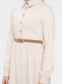Cream - Point Collar - Unlined - Cotton - Dress