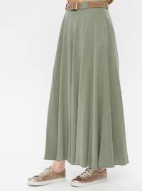 Khaki - Unlined - Cotton - Skirt