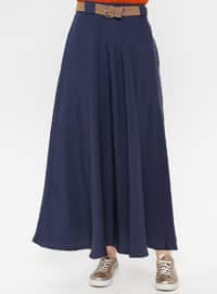 Navy Blue - Unlined - Cotton - Skirt
