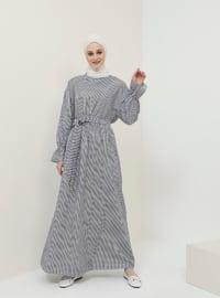Navy Blue - Stripe - Polo neck - Unlined - Cotton - Dress