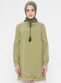 Green Almond - Point Collar - Cotton - Tunic