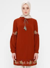 Terra Cotta - Point Collar - Cotton - Tunic