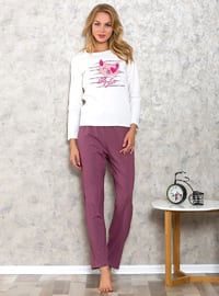 White - Purple - Crew neck - Cotton - Pyjama