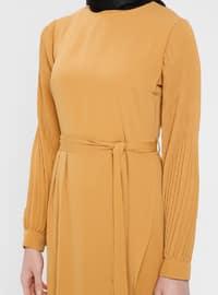 Yellow - Crew neck - Unlined - Cotton - Dress