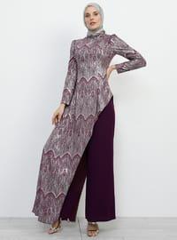 Purple - Multi - Unlined - Crew neck - Muslim Evening Dress