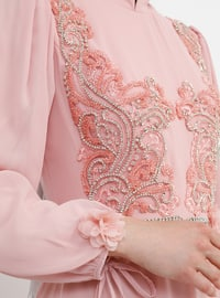 Pink - Fully Lined - Crew neck -  - Muslim Evening Dress