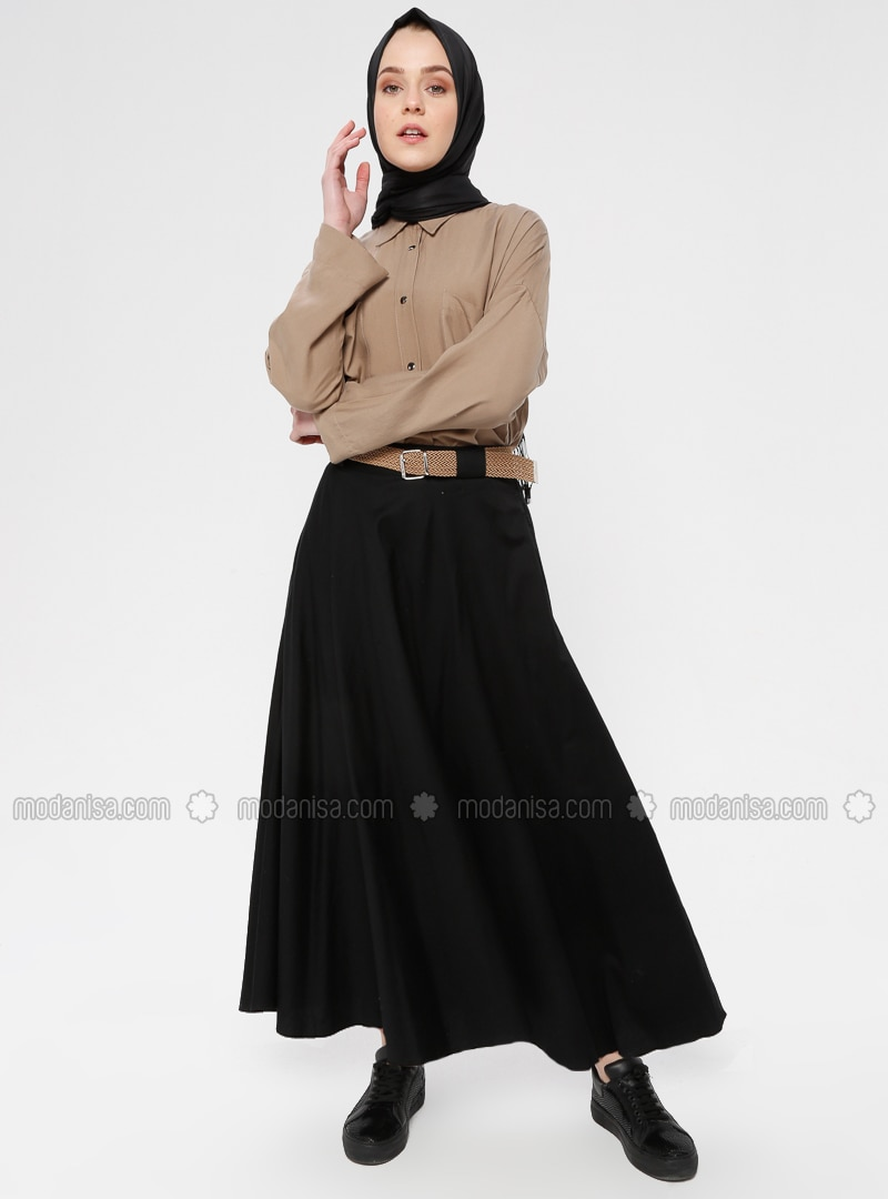 Black - Unlined - Cotton - Skirt