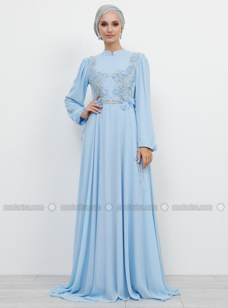 Blue - Fully Lined - Crew neck -  - Muslim Evening Dress
