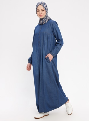 Indigo - Button Collar - Unlined - Cotton - Denim - Dress