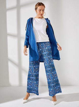 Navy Blue - Multi - Pants - Muni Muni