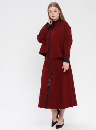 Black - Maroon - Polo neck - Unlined - Plus Size Suit