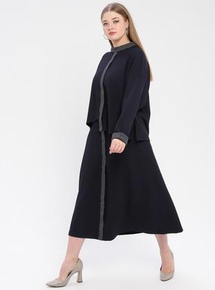 Navy Blue - Polo neck - Unlined - Plus Size Suit